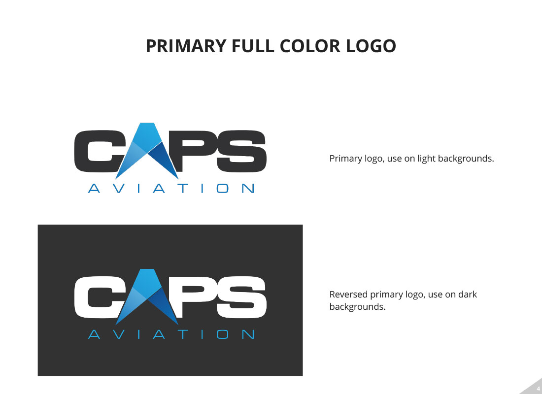 CAPS primary logo uses from style guide