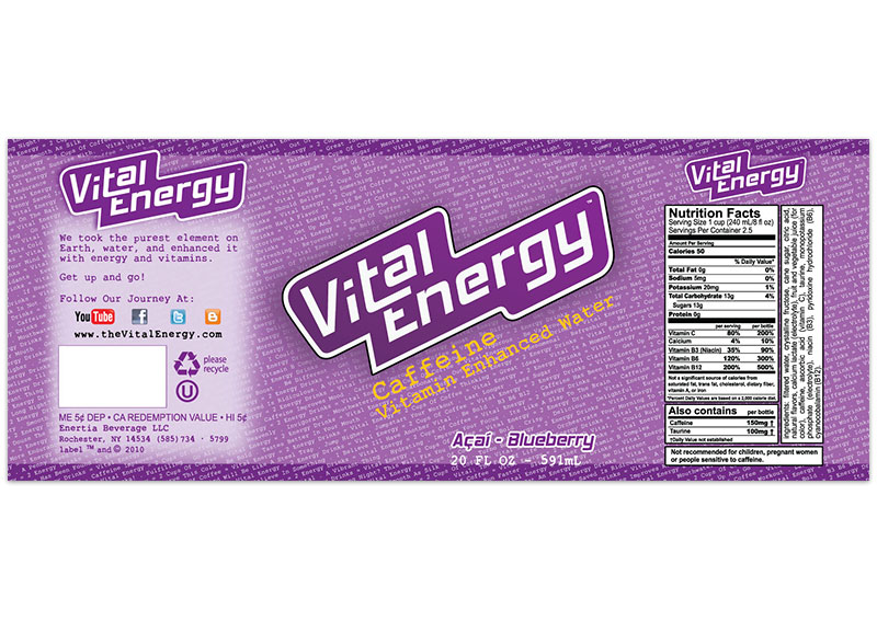 Vital Energy Label - Acai-Blueberry
